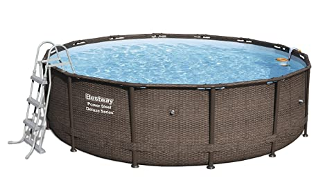 Bestway 56664 Piscina Power Steel Diseño Rattan, 13030 litros, M