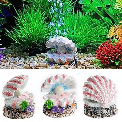 Shell Pearl /& Air Stone Aquarium Tank Fish Ornament Shell Bubbler Bubbling Decor