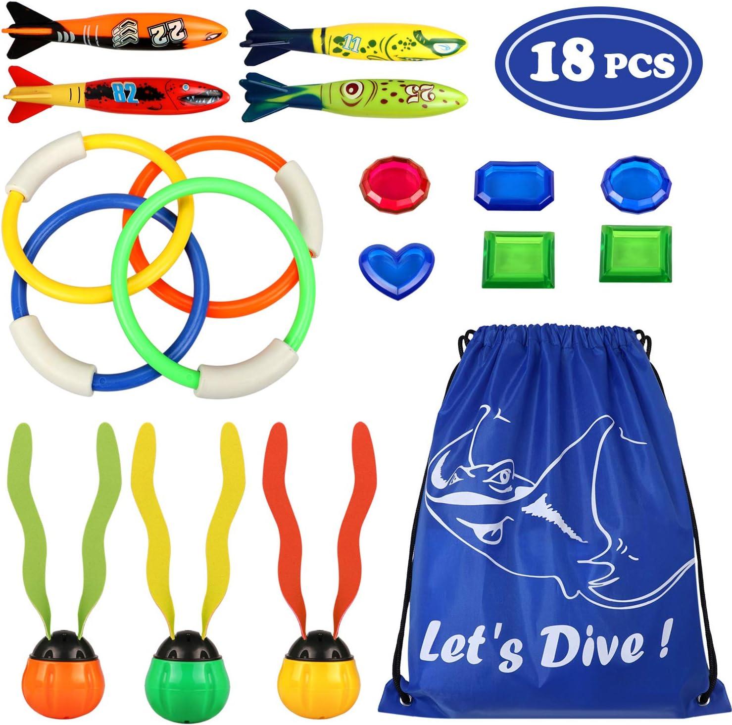 17pcs Juguete de Buceo 4pcs Anillos de buceo 4pcs Torpedos Bandidos 6pcs Diving Gems 3pcs Dive Ball Streamers Juguetes para piscina Natación Subacuática Verano Juegos para niño