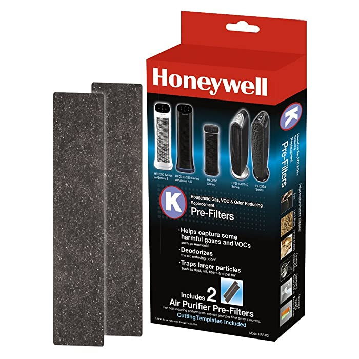 Honeywell HRF-K2 Household Odor & Gas Reducing Pre-filter 2 Pack Black