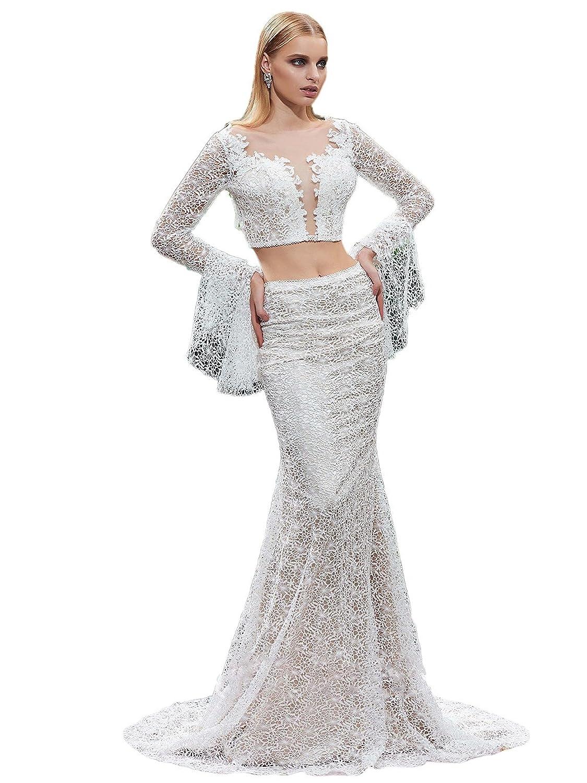 Ikerenwedding Women's Long Sleeves Open Back Hollow Lace Mermaid Two Pieces Wedding Dress