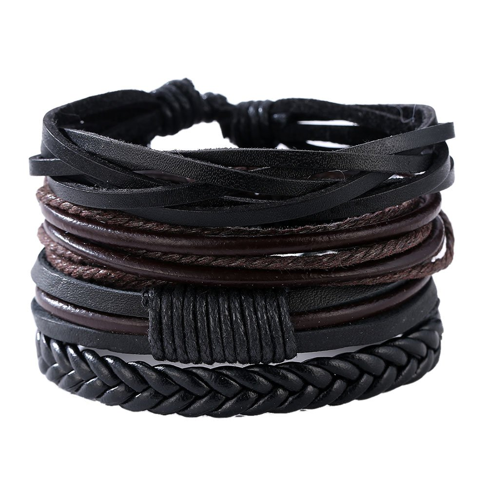 Demiawaking Men's Mixed Bracelets Adjustable Handmade Multi Strand Braided Cowhide Bracelets Woven Leather Wristbands Bracelet Wrist 1cx3gz2sf6cb6br4