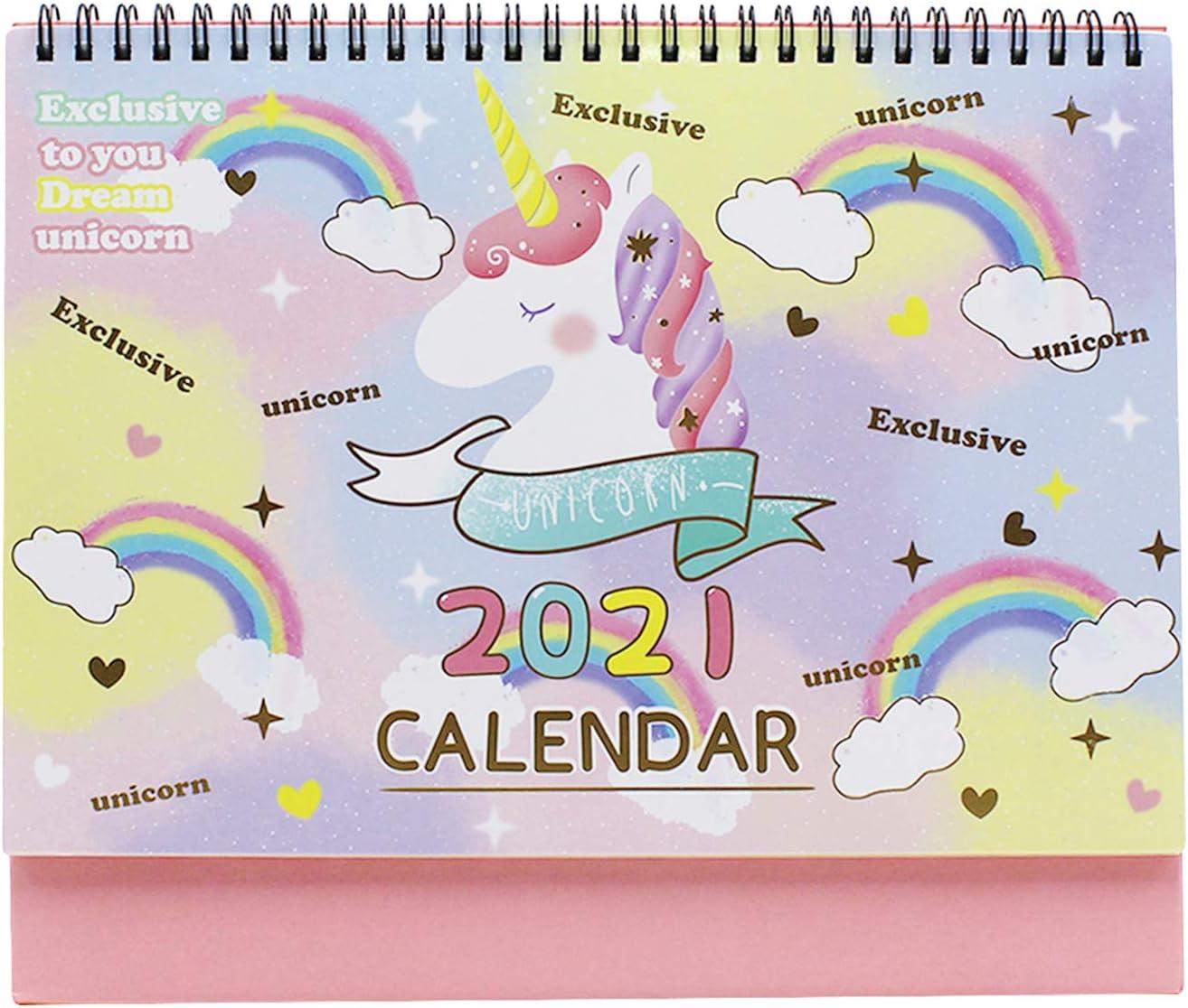 Cute Unicorn Desk Calendar 2020-2021 Desktop Standing Flip Daily Monthly Calendar Planner Scheduler Organizer for Home Office