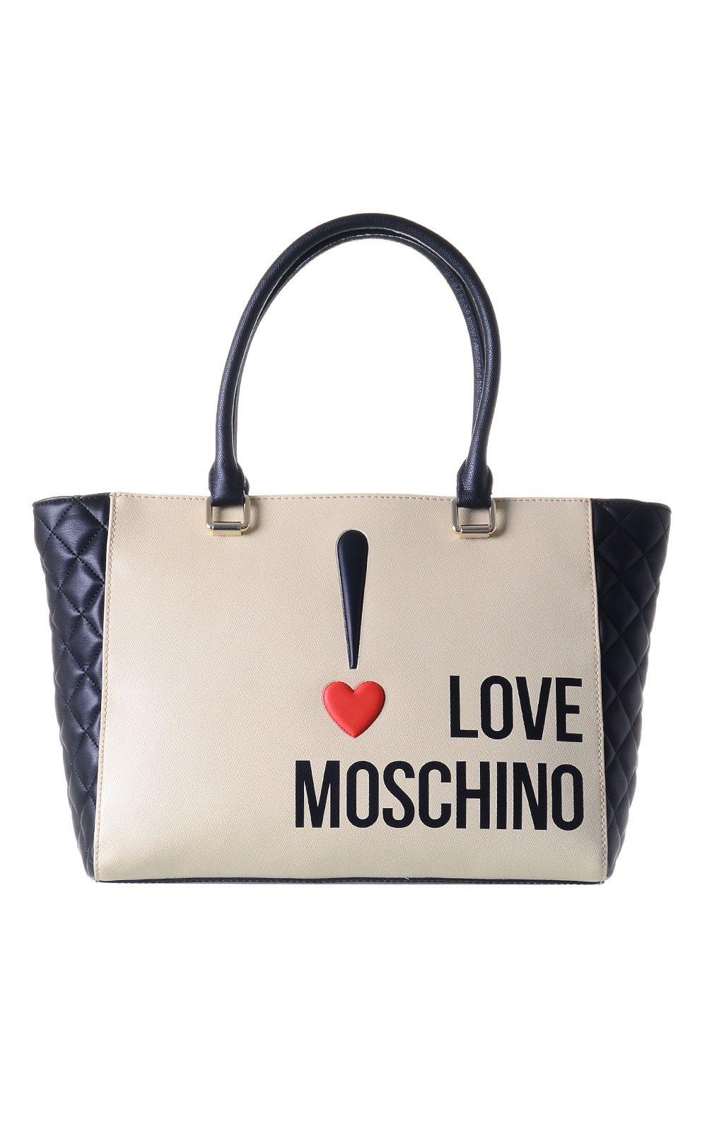 Love Moschino Exclamation Mark ! Tote, Black /Ivory