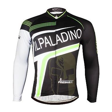 ILPALADINO Men s Cycling Jersey Long Sleeve Biking Shirts Breathable Black  White ... c2552c5c2