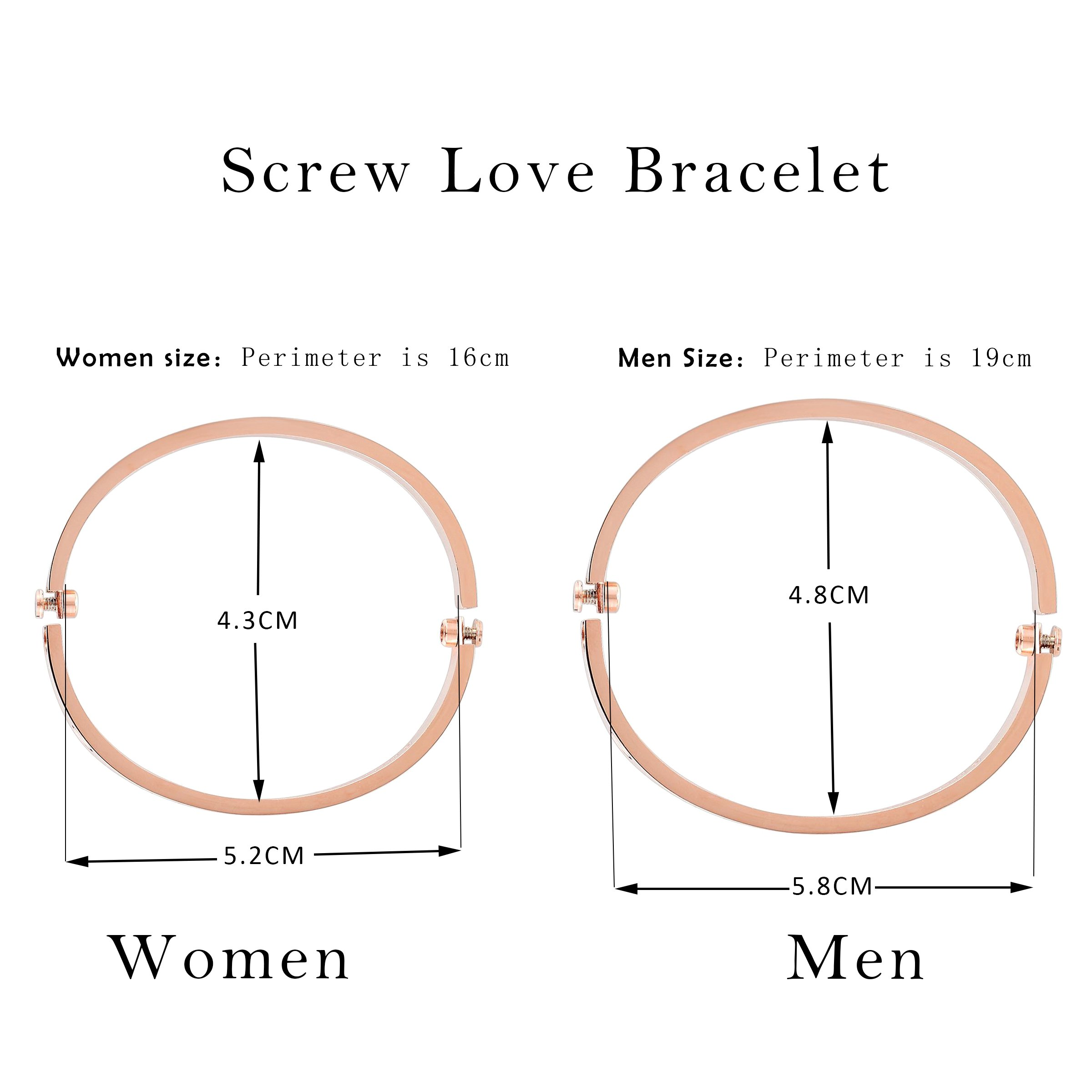 Z.RACLE Love Bangle Bracelet Stainless Steel with Screw - Best Gift for Love - 6.3IN Rose Gold CZ by Z.RACLE (Image #4)
