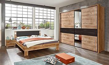 lifestyle4living Schlafzimmer Komplett Set in grau und Eiche-Dekor ...