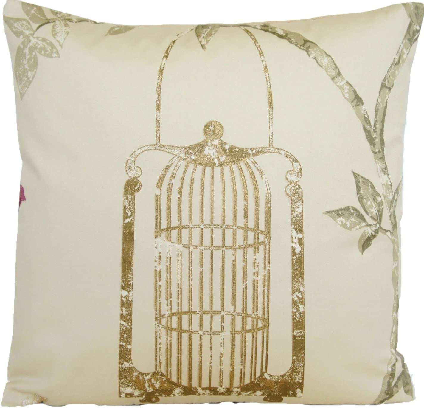Nina Campbell Gold Bird Cage Pillow Throw Case Modern Style Cushion Cover Fabric Maroon