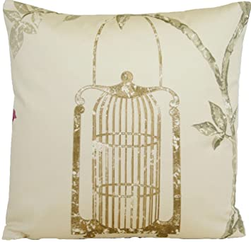 birds cage cushion cover cotton pillow case nina campbell fabric printed maroon