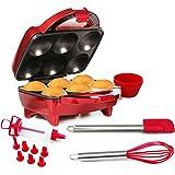 Holstein Housewares HF-09013R-M-BU Fun Cupcake Maker with 16 Piece Accessory Set - Metallic Red