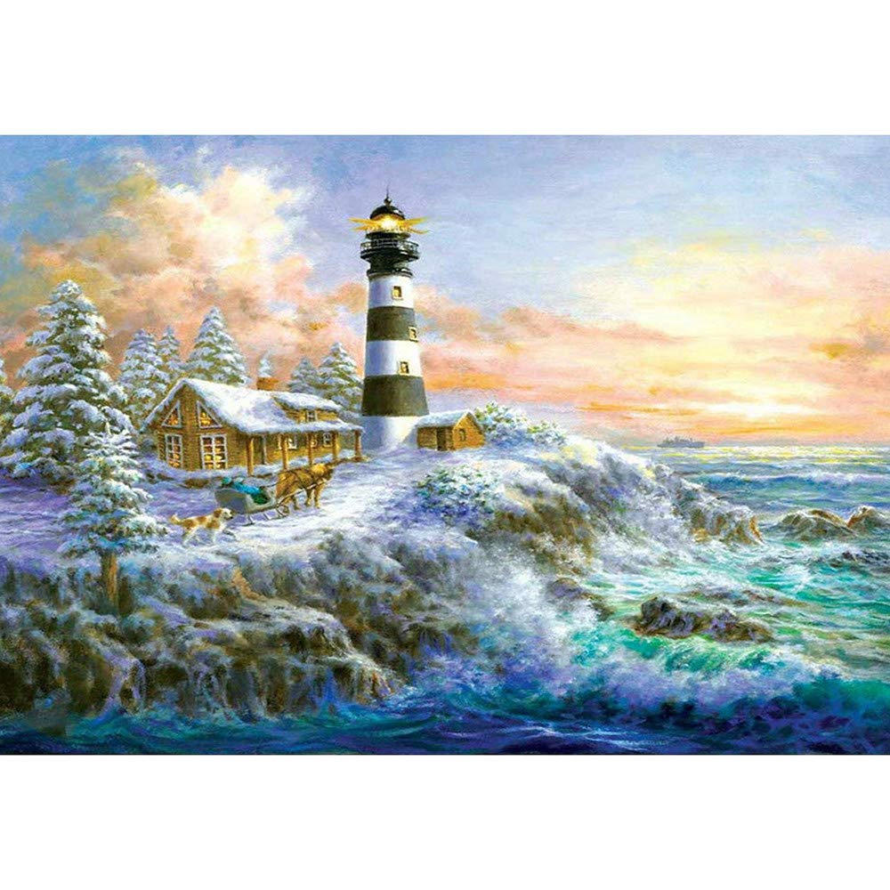 Vertily Clearance 5D Diamond Painting Tool Full Drill Diamond Paint Harbor Lighthouse, Advanced Paintings DIY for Art Wall Home Decor, Diamond Painting Kit s for Kids Adult- 30×40cm