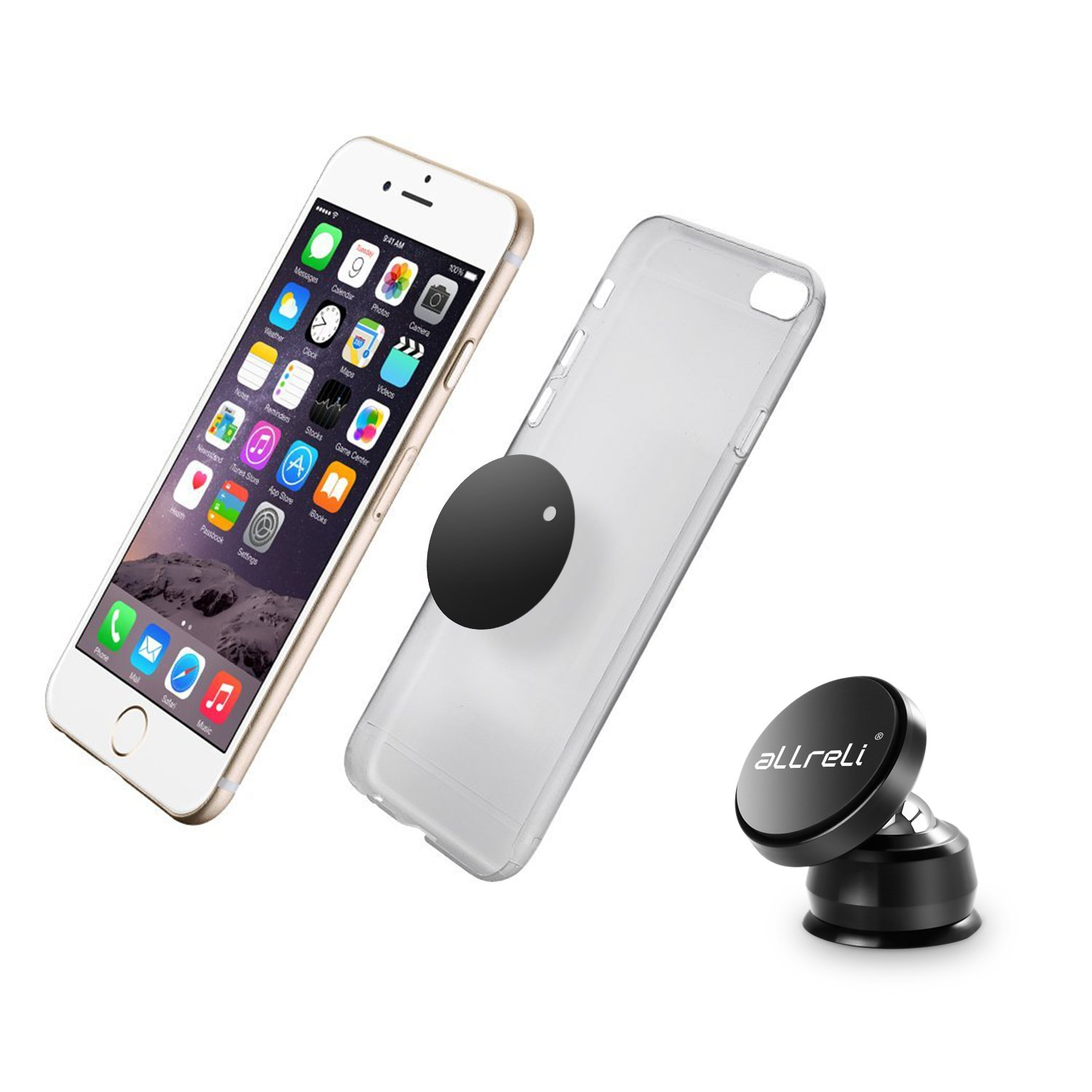 aLLreLi Magnetic Car Mount for iPhone XS Max XR 8 7 6 Plus Galaxy S9 S8 Plus S7 S6  Note 9 8 and More Magnetic Phone Holder for Car Dashboard Strong Magnet Phone Mount 4351483810