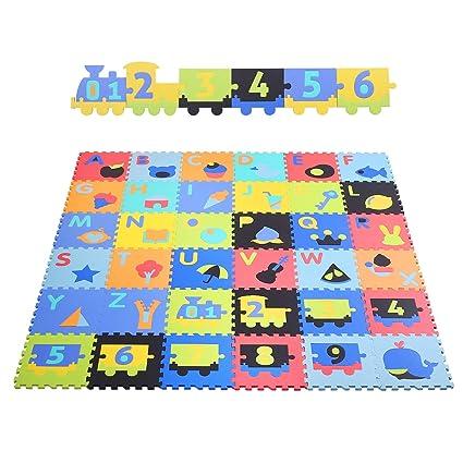 48aeac8810 BAMNY Tappeto Puzzle Bambini, Tappeto da Gioco per Bambini(Lettere + Numeri  + Motivo), ...