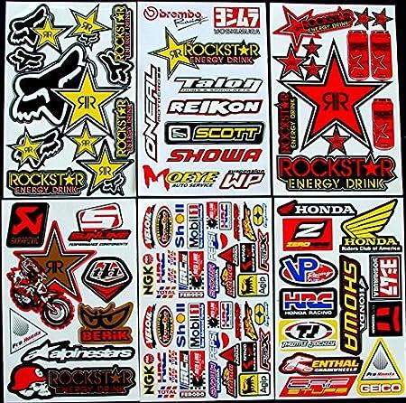 6 Blatt Aufkleber Vinyl T G Motocross Stickers Bmx Bike Pre Cut Sticker Bomb Pack Metal Rockstar Energy Scooter Auto