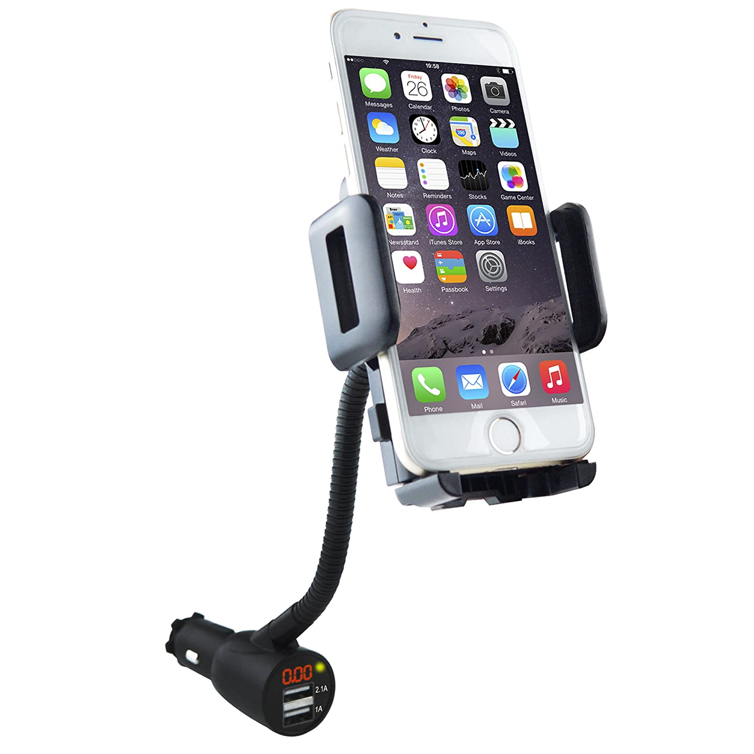 3-in-1 Cigarette Lighter Car Mount + Voltage Detector, SOAIY Car Mount Holder Cradle w/Dual USB 3.1A, Display Voltage Current Compatible with iPhoneXS XS Max XR X 8 7 6s 6 5s Samsung S8 S7 S6 S5
