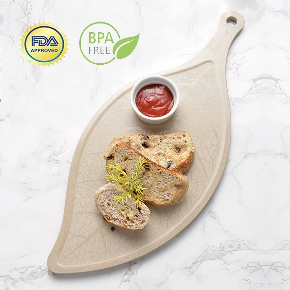 Antibacterial Leaf-Shaped Cutting Board with Handle and Groove,Charcuterie Platter,Durable Serving Tray for Meat,Cheese,Bread&Fruit