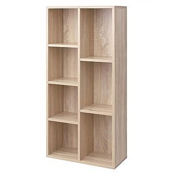 12339d414 VASAGLE Librería de Madera con 7 Compartimentos, Organizador de Archivos,  Estantería de Pie para