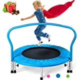 """Merax 36"""" Mini Trampoline for Kids Exercise Rebounder Portable Trampoline with Handrail and Padded Cover"""