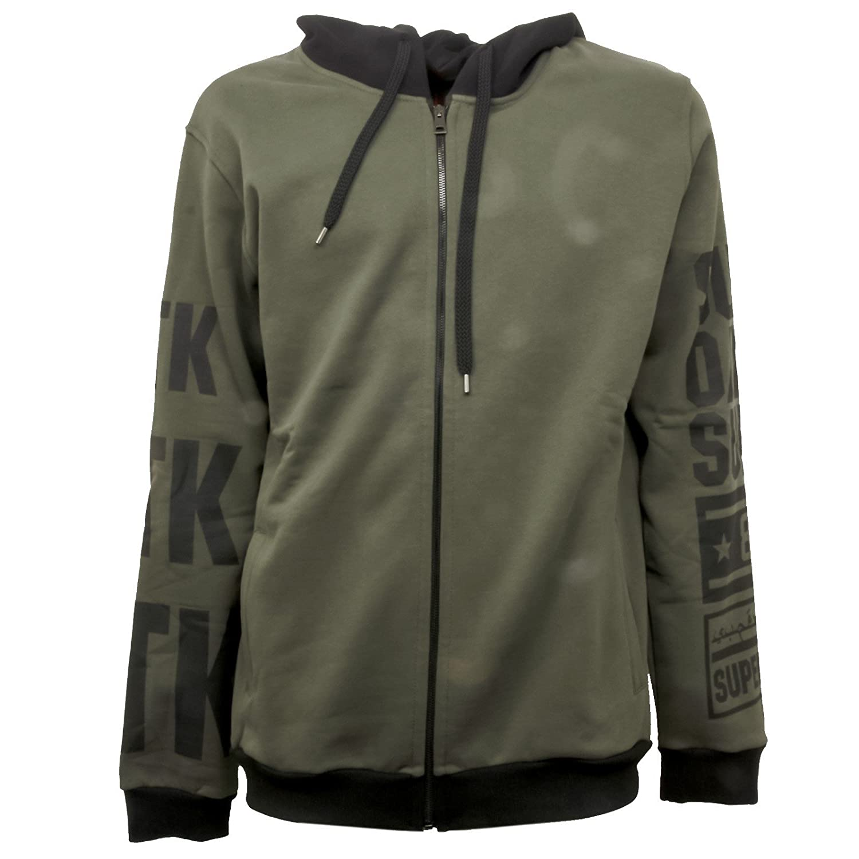 STK SUPERTOKYO B4177 Felpa  Herren Verde Nero Sweatshirt Men