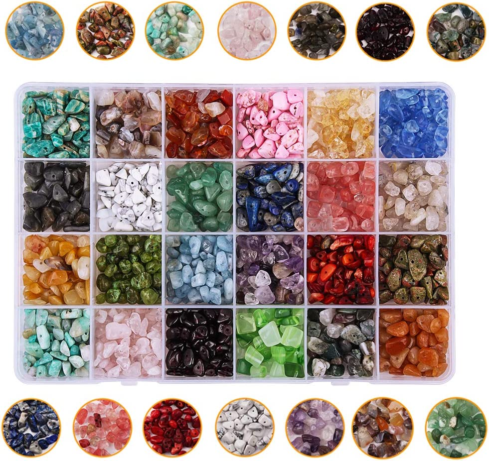 Colle - Juego de 24 cuentas de cristal para joyería y joyas de curación, piedras preciosas para la cintura, pulseras, collar con chips irregulares