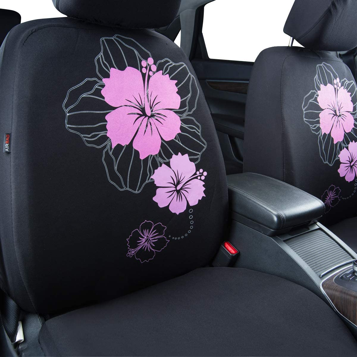 Trucks Black and Purple Fit for Suvs Sedans ... Vans CAR PASS Pretty Flower Cloth Universal Seat Covers