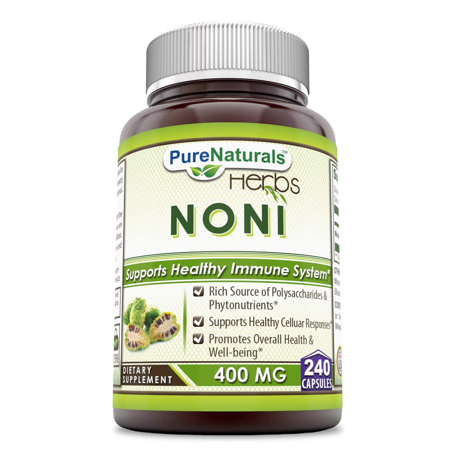 Pure Naturals Noni 400 mg 240 Capsules (Non-GMO) Rich Source of Polysacharides & Phytonutrients, Supports Healthy Celluar Responses, Promotes Overall Health & Well-Being