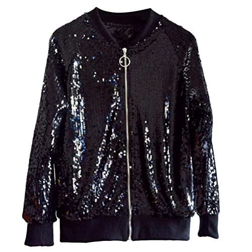 Zhhlinyuan Retro Classic Baseball Jacket Zip Outerwear Long Sleeve Sequined Jackets for Women Girls ...