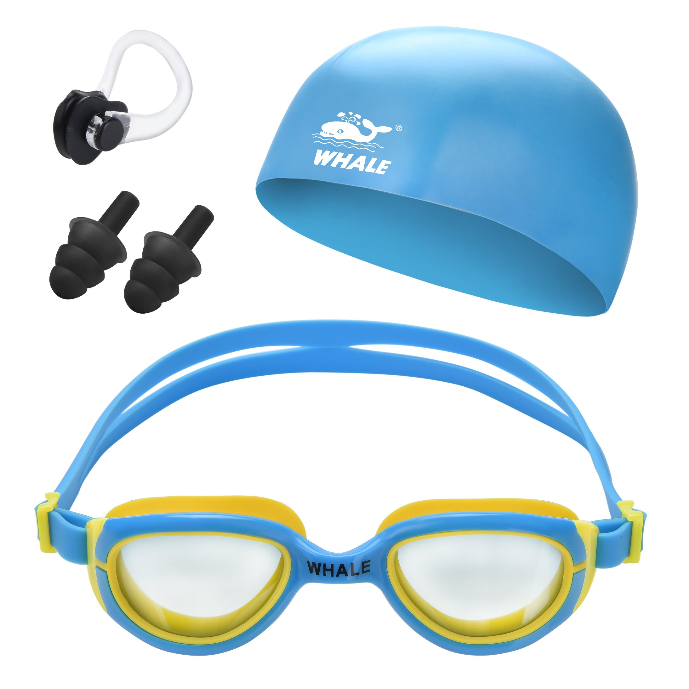 Swimming Cap for Kids Set with Swim Goggles Ear Plugs Nose Clips Training Laps Gear for Youth Teens Children Boys Girls