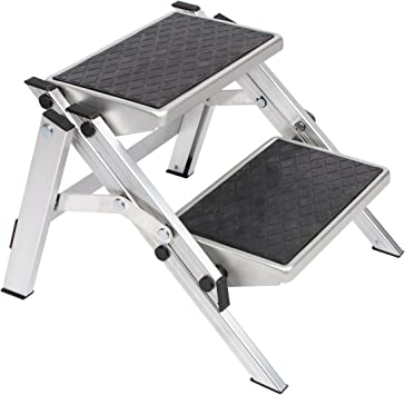 Escalera plegable de aluminio resistente con 2 niveles plegable ...