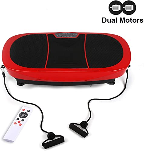 Z ZELUS 3D Fitness Whole Body Vibration Platform Machine - 400W Dual Motors Vibration Plate Crazy Fit Massage Exercise Machine with Remote Control and Resistance Bands