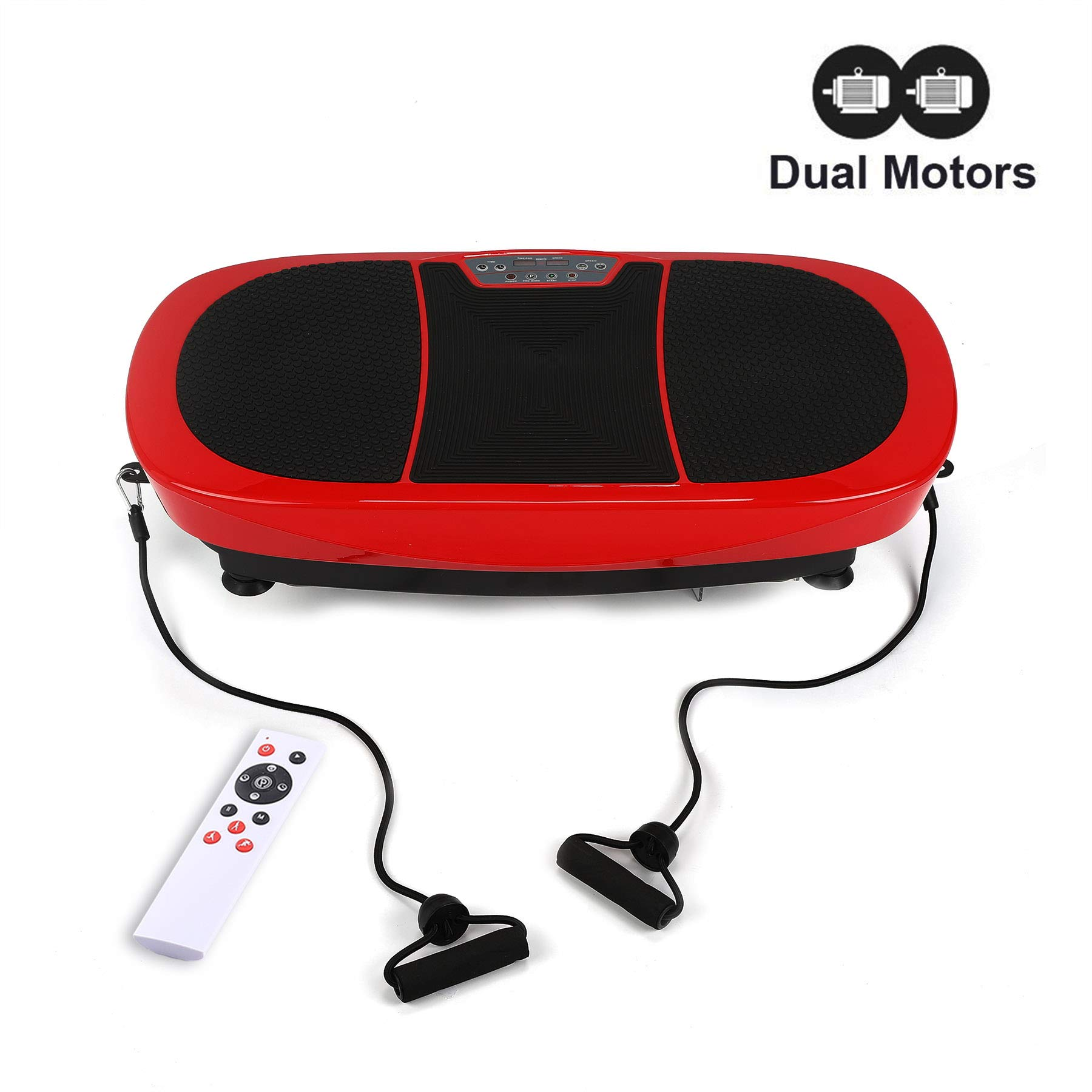 Z ZELUS 3D Fitness Whole Body Vibration Platform Machine - 400W Dual Motors Vibration Plate Crazy Fit Massage Exercise Machine with Remote Control and Resistance Bands (Red)
