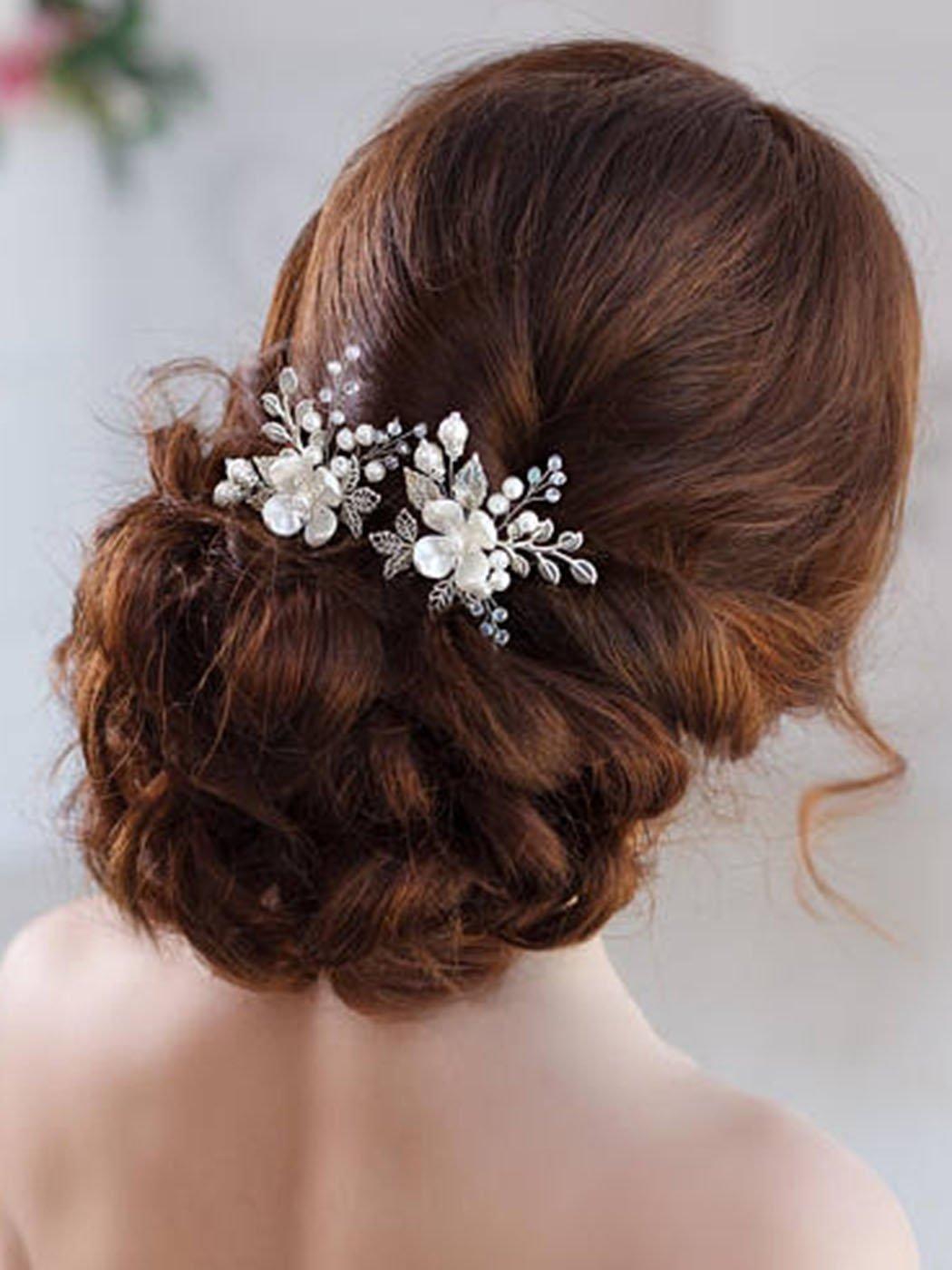 ca4bd01c13 Amazon.com: AW BRIDAL Flower Side Hair Clip Freshwater Pearl Wedding ...