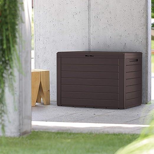 FineHome - Arcón de plástico para Cojines, 190 litros, para jardín, con Aspecto de Madera, Acolchado, Impermeable, Color marrón: Amazon.es: Jardín