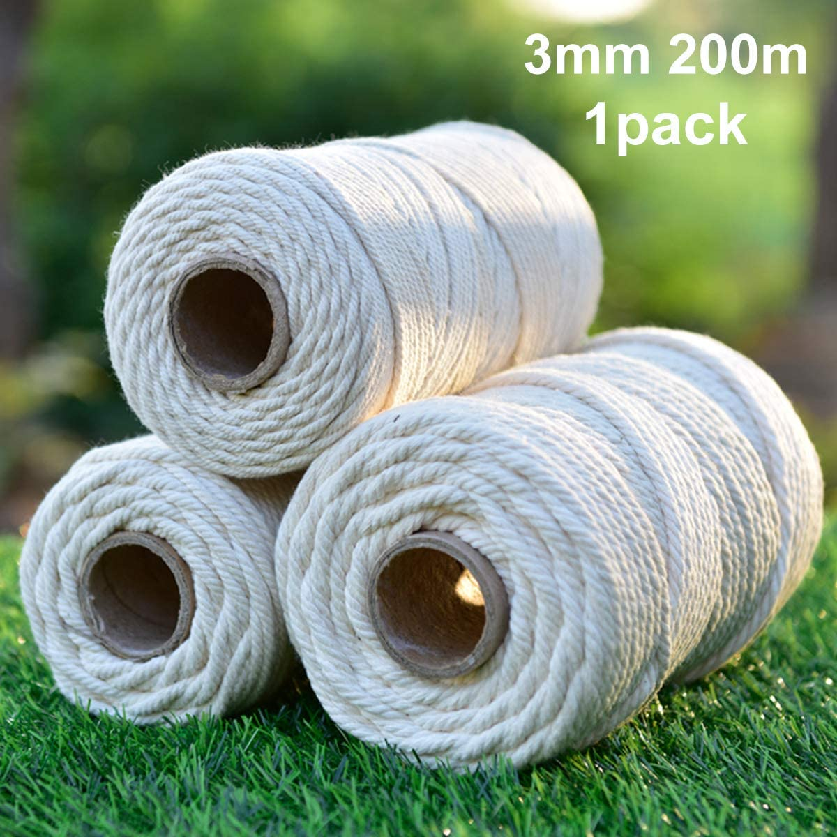 Macrame Cord Cotton Rope 4mm 100m 1 Pack,Natural Cotton Cord 4 Strand Twisted Macrame Twine for Hand-Knitted Macrame Supplies,4mm Cotton Rope for Handmade Wall Hanging Weaving Basketry Tapestry