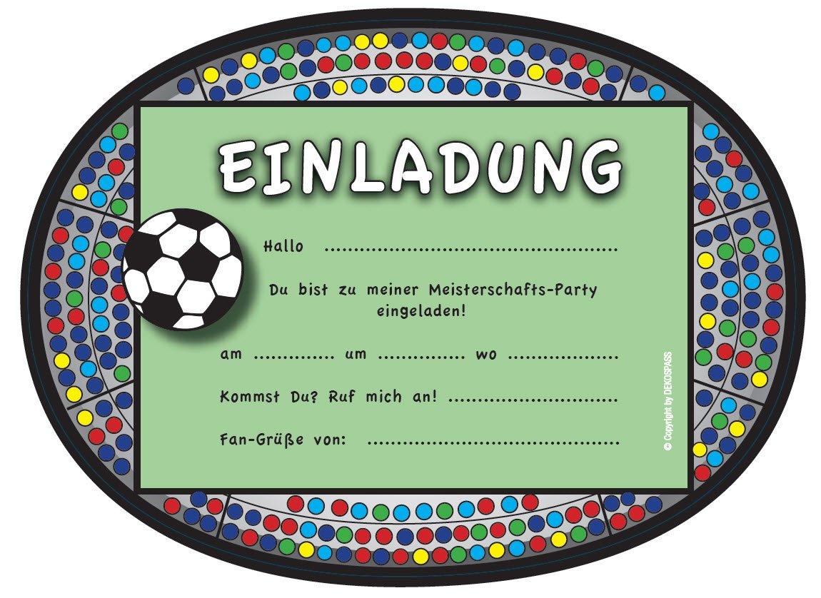 6 Einladungskarten * FUSSBALL STADION * Für Kindergeburtstag Und Party Von  DEKOSPASS // Kinder Geburtstag Party Kinderparty Fussballparty Einladung ...