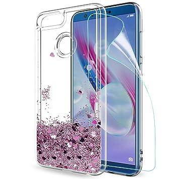 LeYi Funda Huawei Honor 9 Lite Silicona Purpurina Carcasa con HD Protectores de Pantalla,Transparente Cristal Bumper Telefono Gel TPU Fundas Case ...