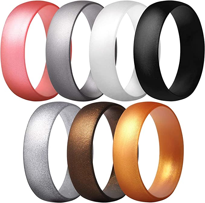 MIROMIHO Metallic Silicone Wedding Ring for Women 4 Pack /& Singles Classical Womens Rubber Wedding Band-7 Packs