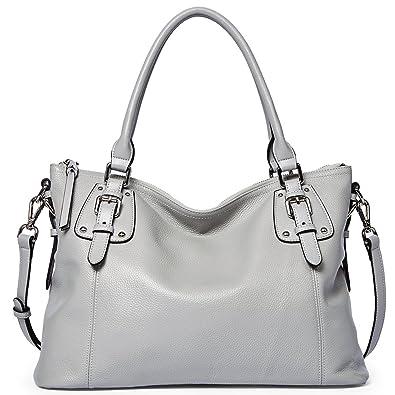 48ffdb44a514b6 BOSTANTEN Women's Leather Handbags Tote Shoulder Purse Top-handle Crossbody  Bag Bags Grey