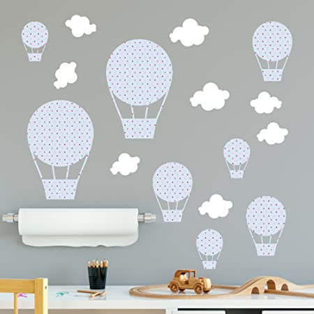 Booizzi pastel blue polka dot hot air balloon wall sticker decal set boys bedroom nursery