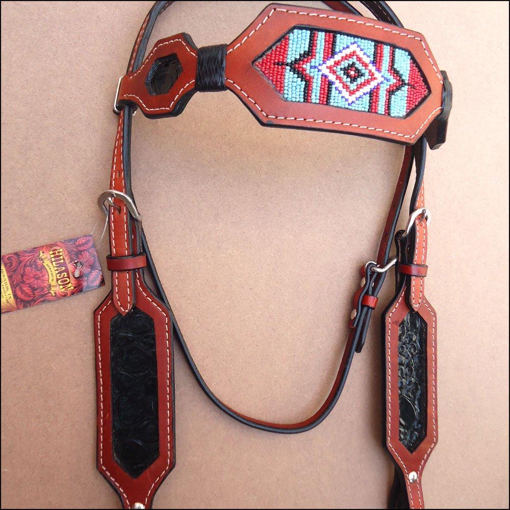 Hilason Western Leather Breast襟Headstallマホガニービーズヘアタッセル 標準  B018URQ65M