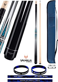 product image for Valhalla VA491 by Viking 2 Piece Pool Cue Stick, No Wrap Design, Turquoise HD Graphic Transfers, Nickel Silver Rings, High Impact Ferrule, 18-21 oz. Plus Cue Case & Bracelet