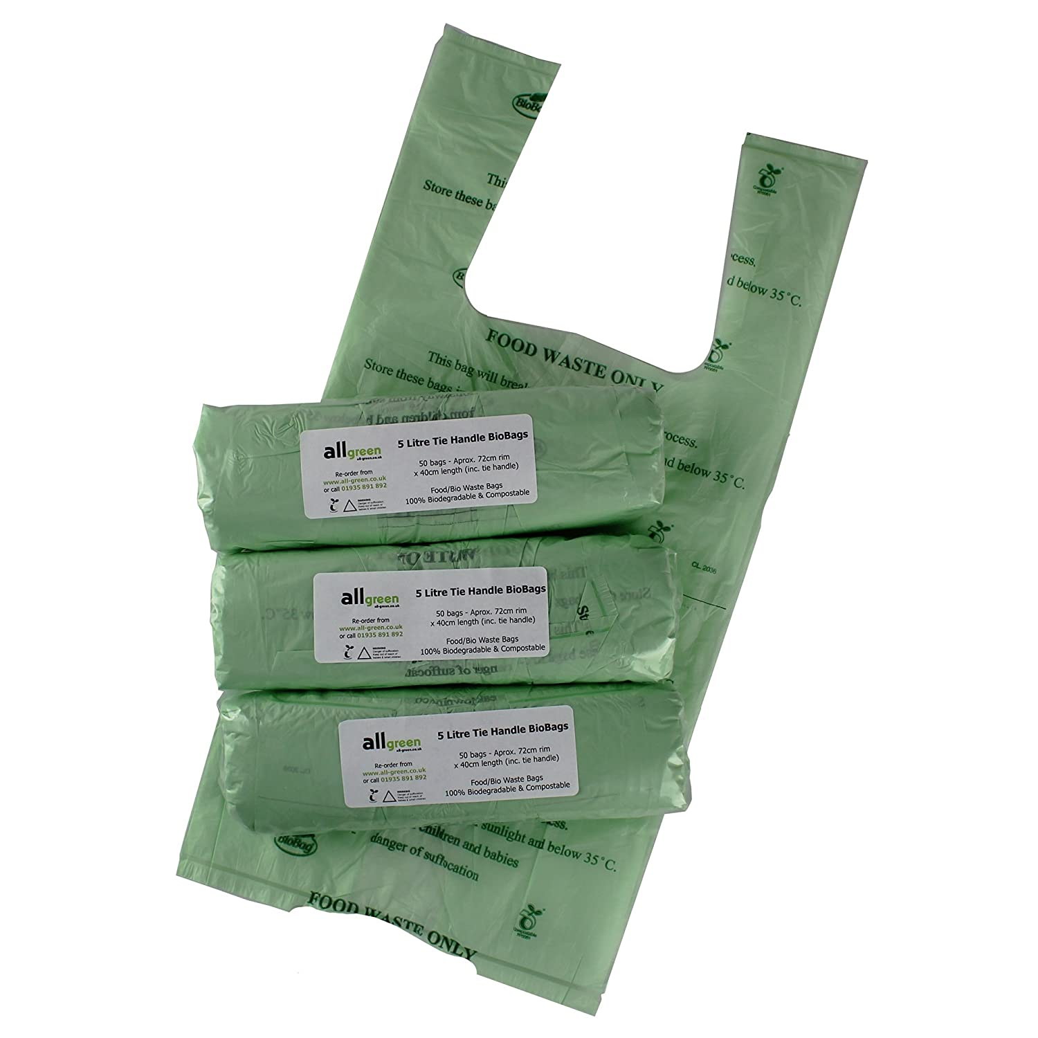 All-Green 5 Litre Tie Handle Biobag Compostable Kitchen Caddy Bin Liners, 150 Bags VC 5L-3TH