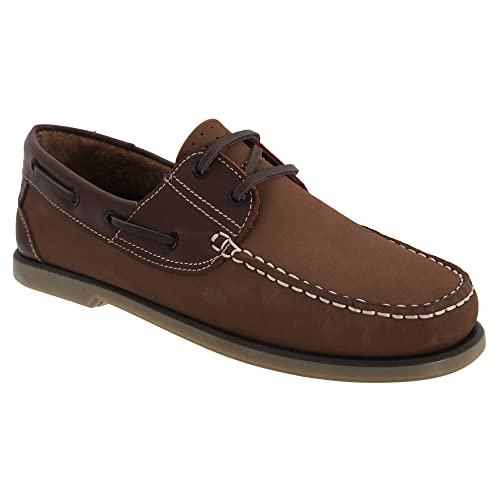 DEK - Zapatos Mocasines Modelo Boat Hombre Caballero (40 EU/Piel/Nubuck Marrón