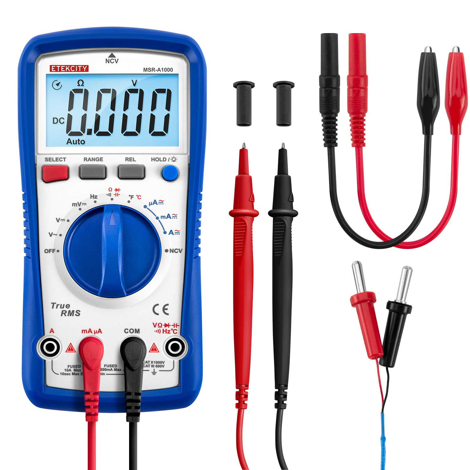 Etekcity Digital Multimeter MSR-A1000, TRMS 6000 Counts Auto-Ranging AC/DC Amp Ohm Voltage Tester Meter with Temperature Frequency Resistance Continuity Capacitance REL Diode Test by Etekcity (Image #1)