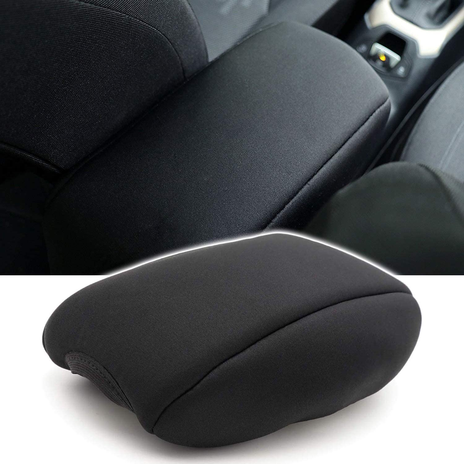 Car Neoprene Center Console Armrest Pad Cover Black Protector Cushion /& Exterior Armrest Storage Box Fit for Jeep Renegade 2015 2016 2017 2018