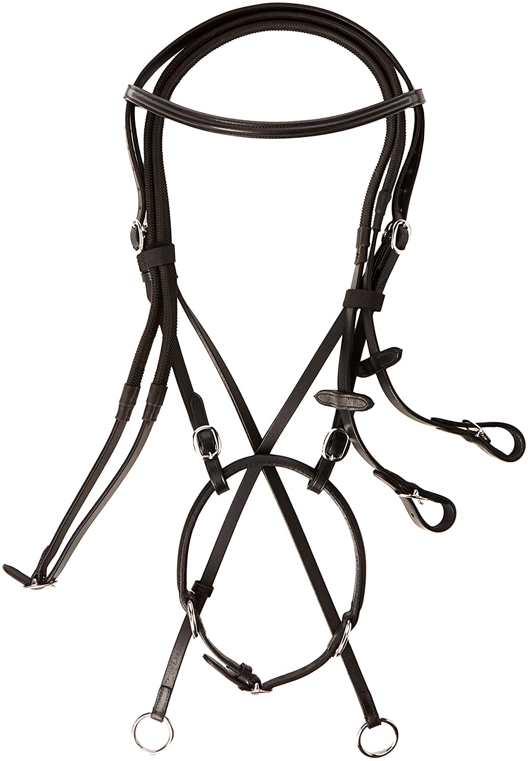 Cwell Equine New ** Cross Over ** Bitless Leather Bridle with web grip reins BLACK F/C/P
