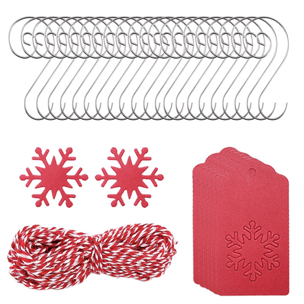 50 Pcs Snowflake Gift Tags, FineGood Rectangular Red Kraft Paper Tags with Free 32ft Cotton Twine, 100 Pcs Christmas Tree Ornament Hooks FG-wire_hook+red_tag