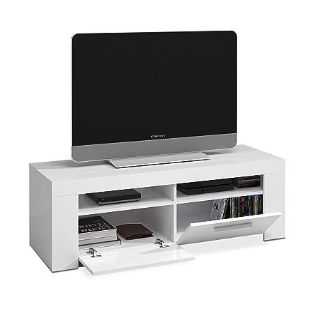 Habitdesign 006621A - Mueble de Comedor Moderno, modulo TV Salon, Modelo Ambit, Acabado en Color Blanco Artik, Medidas: 120 cm (Ancho) x 40 cm (Alto) ...