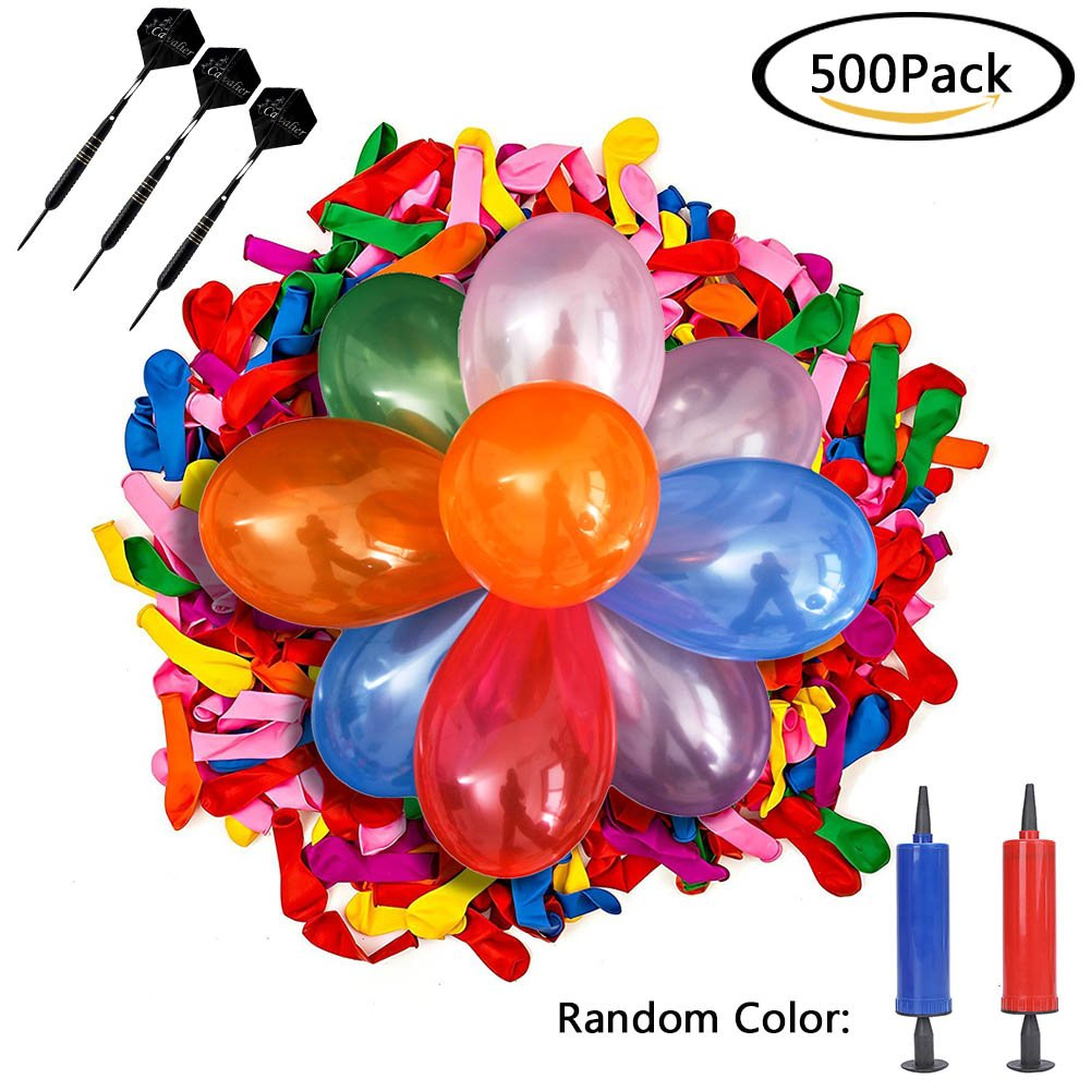 Baring 500 Pieces Dart Balloons 6 inches Water Balloon Latex Bomb with 3 Pieces Steel Tip Darts in Clear Box Bundle for Water Fight Games, Party Favors - Summer Splash Fun for Kids & Adults