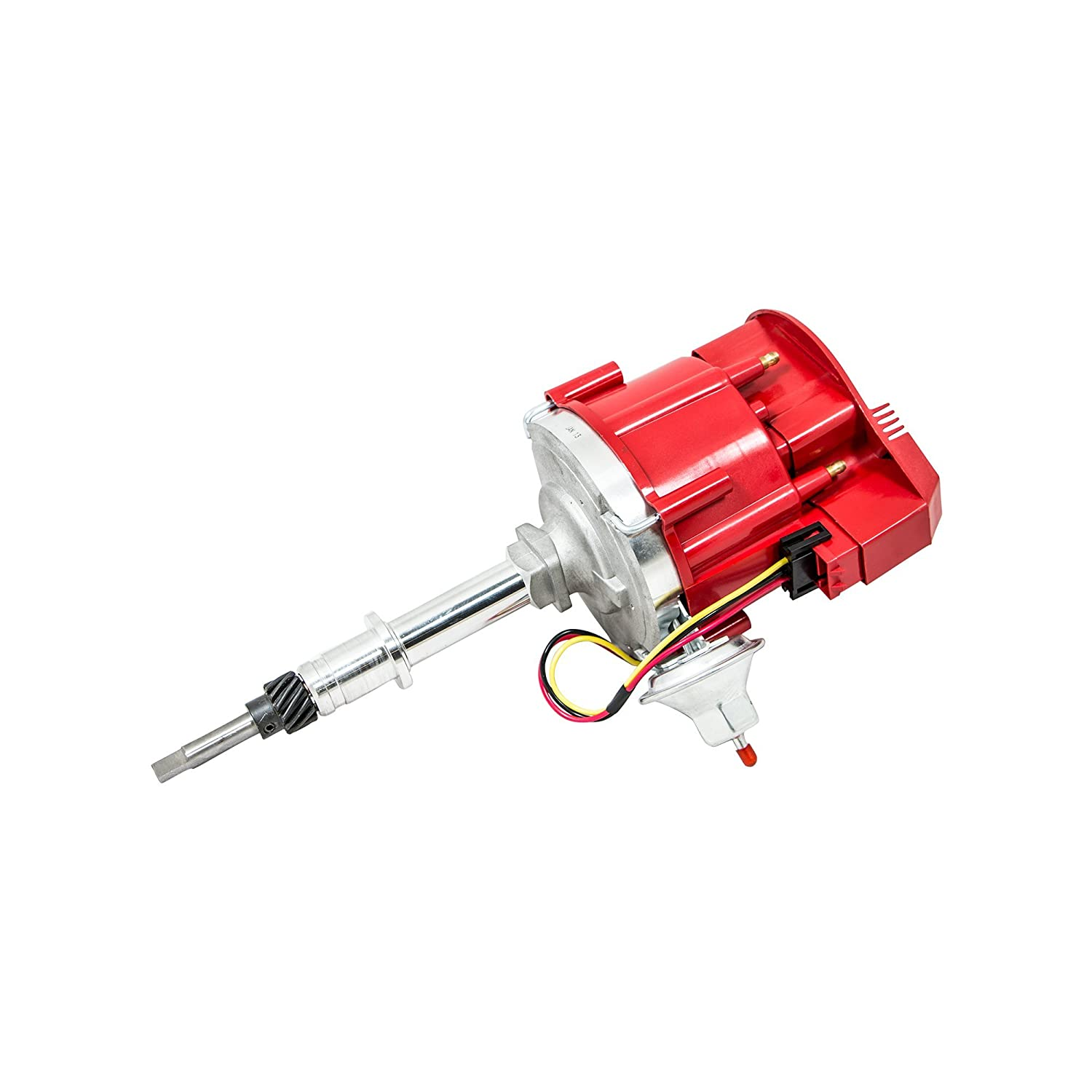Top Street Performance Jm6522r Hei Distributor With Red Chevy Ignition Module Flat Cover Super Cap 65k Volt Coil Automotive